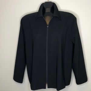 TRADITION Black collared zip front jacket 16